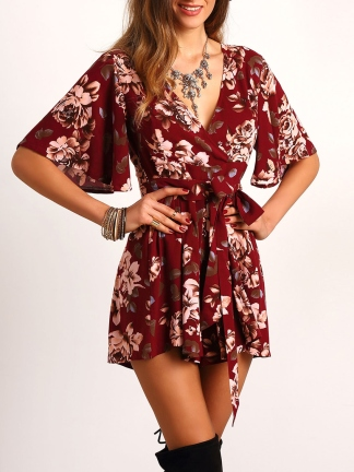 Red Floral Jumpsuit from Romwe